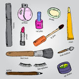 Set of various make up products in sketch style. Vector illustra Royalty Free Stock Photo