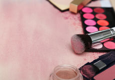 Set of various makeup products in pink tone Royalty Free Stock Photo