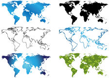 Set of various maps of the world - eps Stock Images