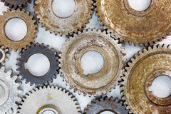 Set of various metal used industrial gearwheels with rust in hig Stock Photography