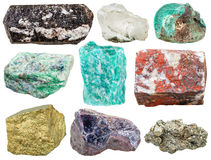 Set of various mineral rocks and stones isolated royalty free stock photo