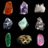 Set of various mineral rocks and stones Royalty Free Stock Image