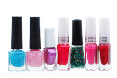 Set of various nail polish isolated on white Stock Photography