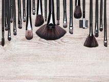 Set of various natural bristle makeup brushes Royalty Free Stock Image