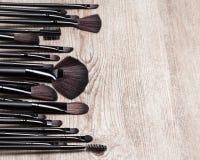 Set of various natural bristle makeup brushes Stock Photos