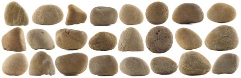 Set of various natural pebble stones Royalty Free Stock Images