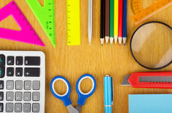 Set of Various office supplies on a wooden table Stock Image