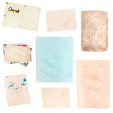 Set of various old paper sheets and pictures Stock Images