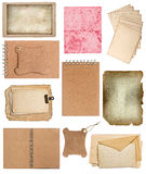 Set of various old paper sheets and ring books Stock Photos