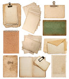 Set of various old paper sheets. Vintage photo album and book pages, cards, pieces isolated on white background Stock Images