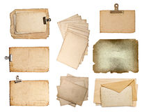 Set of various old paper sheets Stock Images
