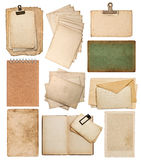 Set of various old paper sheets Stock Photo