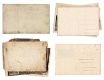 Set of various Old papers and postcards with scratches and stains texture isolated royalty free stock image