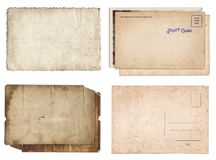 Set of various Old papers and postcards with scratches and stains texture isolated stock image