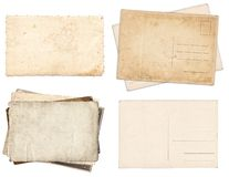 Set of various Old papers and postcards with scratches and stains texture isolated royalty free stock images