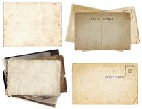 Set of various Old papers and postcards with scratches and stains texture isolated royalty free stock photos