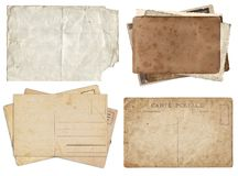 Set of various Old papers and postcards with scratches and stains texture isolated royalty free stock photo