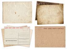 Set of various Old papers and postcards with scratches and stains texture isolated stock photos