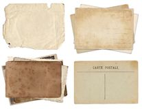 Set of various Old papers and postcards with scratches and stains texture isolated royalty free stock photography