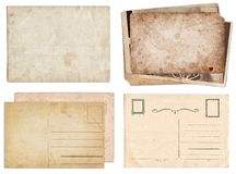Set of various Old papers and postcards with scratches and stains texture isolated stock photography
