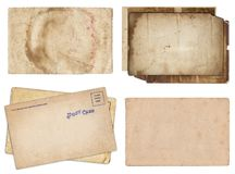 Set of various Old papers and postcards with scratches and stains texture isolated stock photo