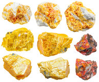 Set of various orpiment minerals isolated Stock Image
