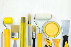 Set of various painting tools on white background. Flat view Royalty Free Stock Images