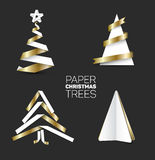 Set of various paper christmas trees Stock Photo