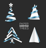 Set of various paper christmas trees Royalty Free Stock Images