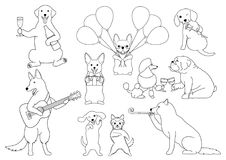 Party dogs line art. Set of various party dogs line art Stock Photos