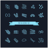 Set of various pasta icons Royalty Free Stock Photos