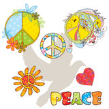 Set of various peace symbols Royalty Free Stock Photo