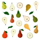Set of various pears Royalty Free Stock Photos