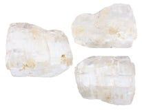 Set of various petalite castorite minerals Stock Images