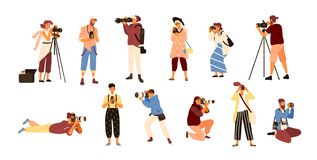 Set of various photographers holding photo camera and photographing. Creative profession or occupation. Cute female and. Male cartoon characters take photo shot royalty free illustration