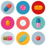 Set of various pills and capsules icons Royalty Free Stock Images