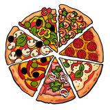 Set of various pizza pieces on white background. Set of various pizza pieces, sketch style vector illustration on white background. Slices of freshly baked and stock illustration