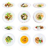 Set of various plates of food isolated on white background with royalty free stock photos