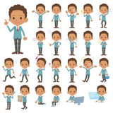 Set of various poses of Blacks schoolboy.  Royalty Free Stock Photography