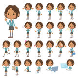 Set of various poses of Blacks schoolgirl Stock Images