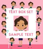Business black women_text box. Set of various poses of business black women_text box Royalty Free Stock Image