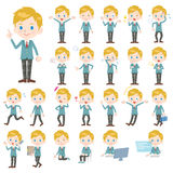 Set of various poses of Caucasians schoolboy Royalty Free Stock Photos