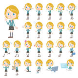 Set of various poses of Caucasians schoolgirl Stock Photo