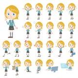 Set of various poses of Caucasians schoolgirl.  Stock Photo