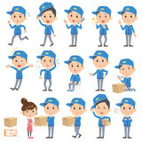 Set of various poses of Deliverymen. 