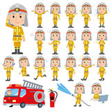Set of various poses of The firemans Stock Image
