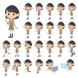 Set of various poses of Girl student.  Royalty Free Stock Images