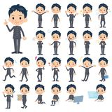 Set of various poses of japanese Schoolboy Stock Photography