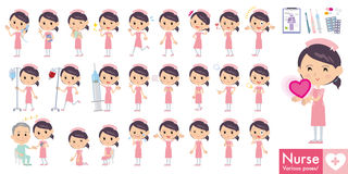 Set of various poses of Nurse Stock Photos
