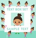 Perm hair girl_text box. Set of various poses of perm hair girl_text box Stock Images